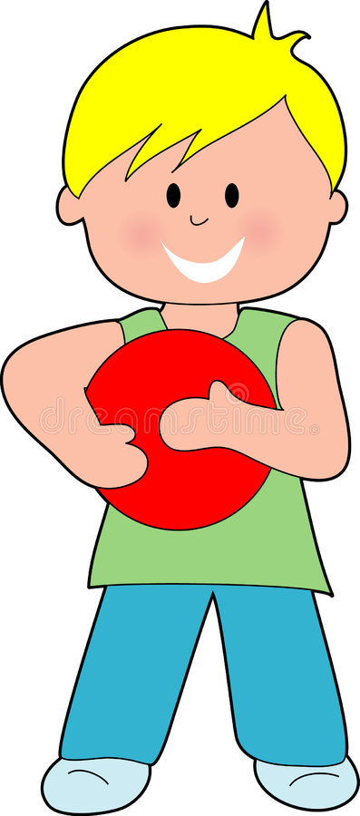 Muchacho con una bola roja stock de ilustración