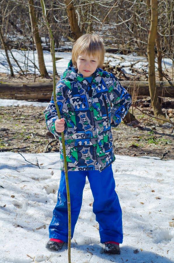 Muchacho con una rama en manos imagen de archivo