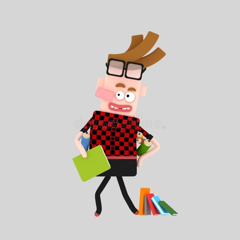 Muchacho creativo con muchos libros libre illustration