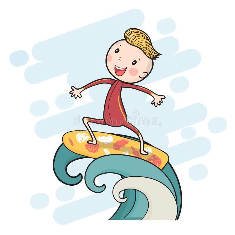 muchacho de dibujo lindo de la resaca en la tabla hawaiana que flota en onda grande libre illustration