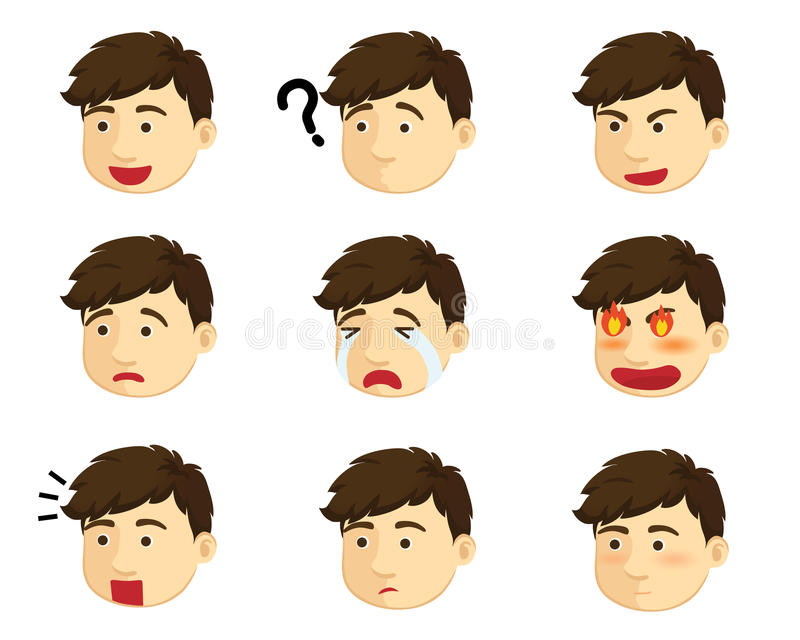 Muchacho de diversas emociones libre illustration
