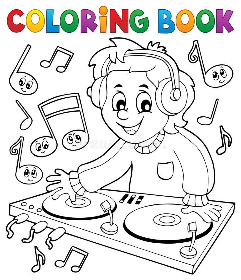 Muchacho de DJ del libro de colorear stock de ilustración