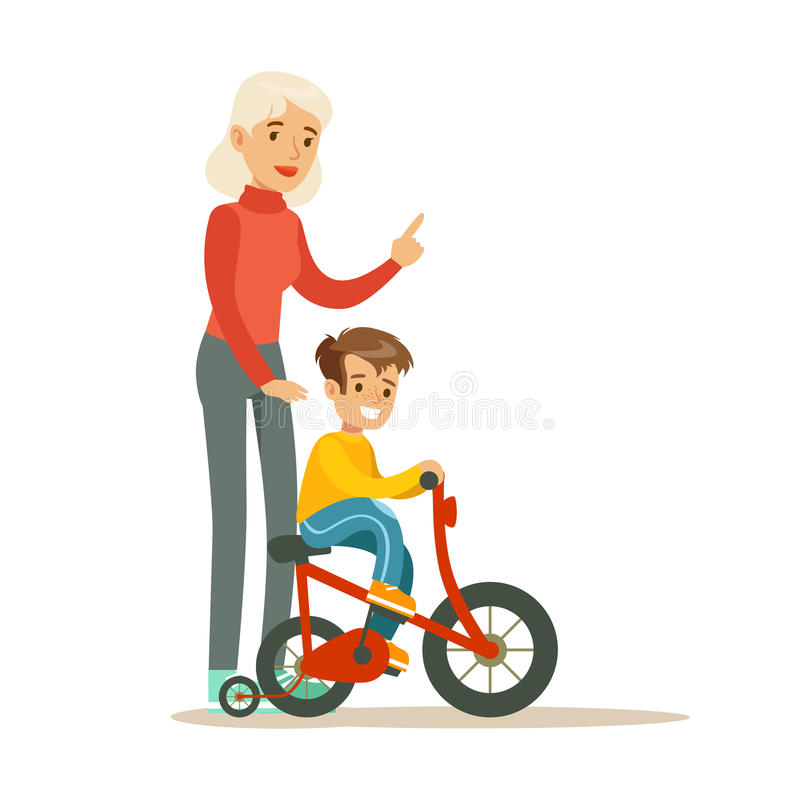 Muchacho de enseñanza de la abuela para montar la bicicleta, parte de abuelos que se divierten con serie de los nietos libre illustration