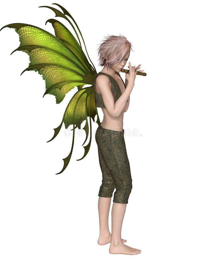 Muchacho de hadas que toca una flauta ilustración del vector