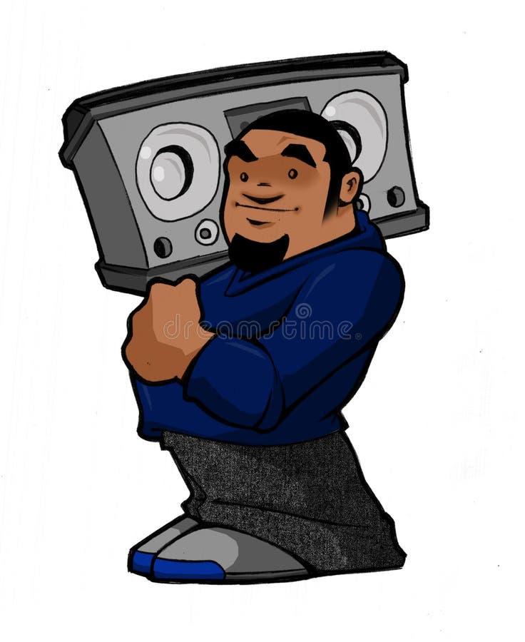 Muchacho de Hip Hop B de la escuela vieja con Boombox stock de ilustración