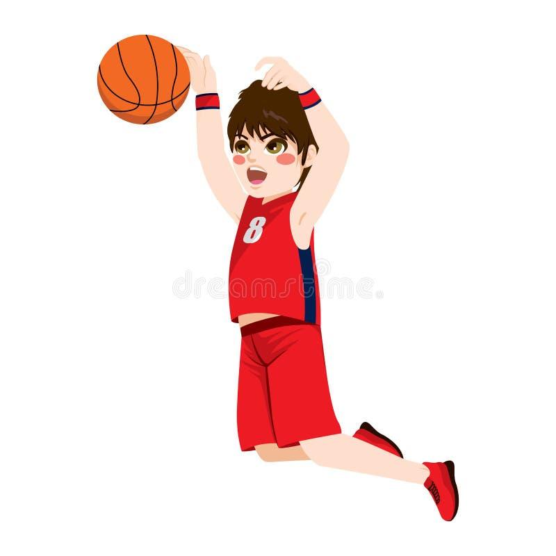 Muchacho de la acción del baloncesto stock de ilustración