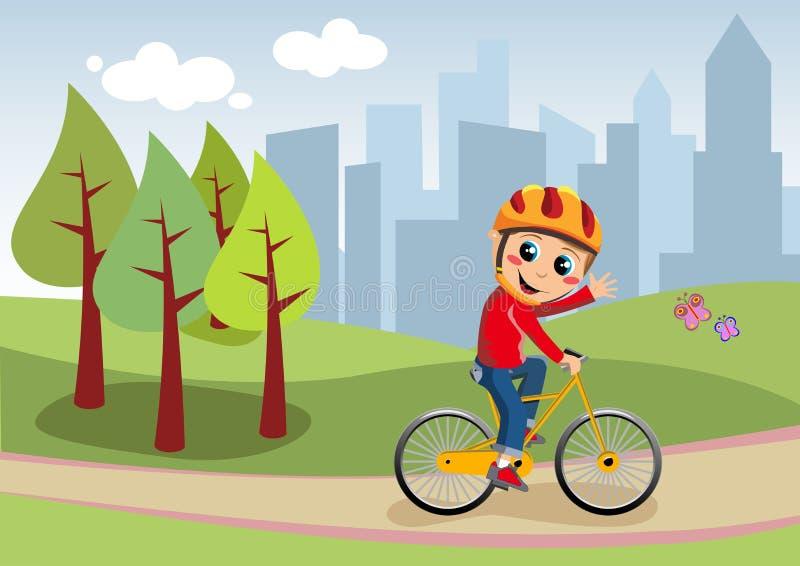 Muchacho de la bicicleta en el parque de la ciudad stock de ilustración