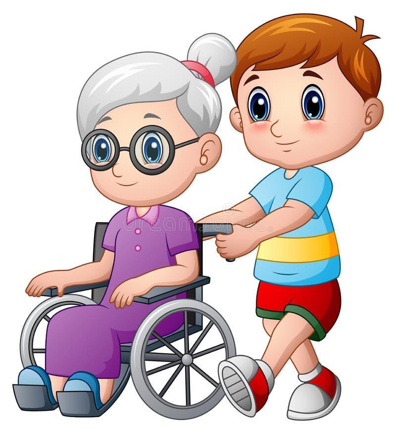 Muchacho de la historieta con la abuela en silla de ruedas ilustración del vector