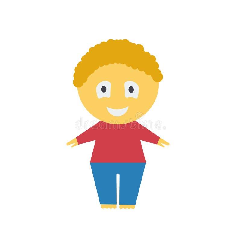 Muchacho de la historieta Ejemplo de un muchacho en un fondo blanco Muchacho pelirrojo alegre Chaqueta roja Pantalones azules stock de ilustración