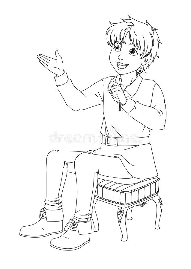Muchacho de la historieta - el hablar que se sienta y sonrisa - fondo aislado - muchacho hermoso del manga - página del colorante libre illustration