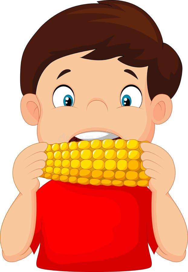 Muchacho de la historieta que come maíz libre illustration