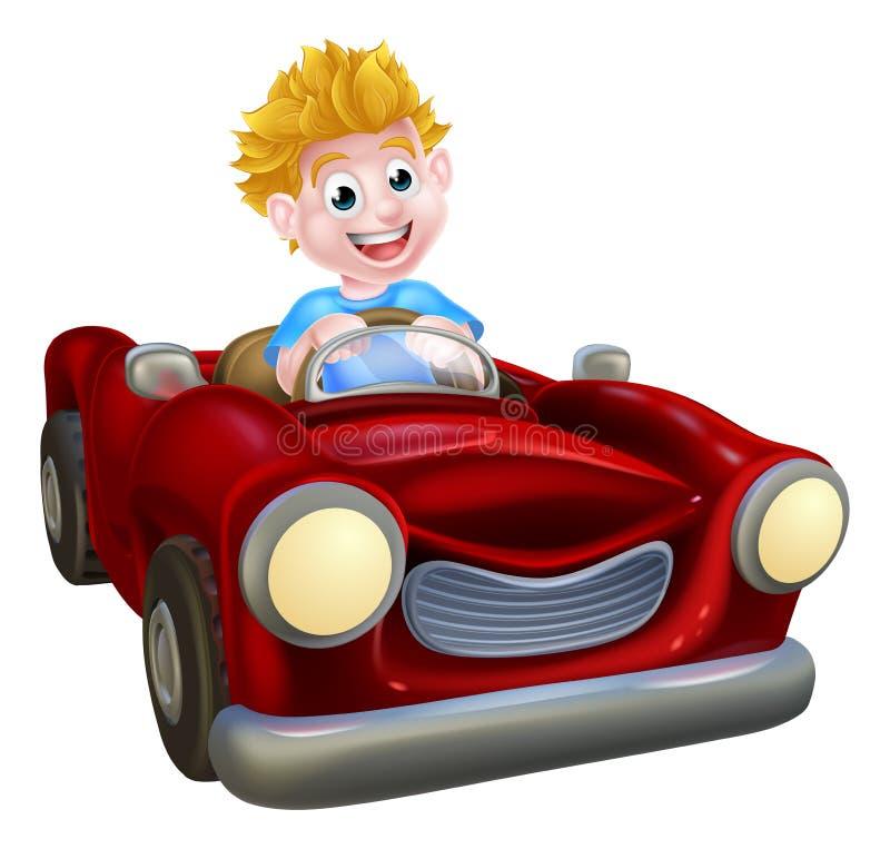Muchacho de la historieta que conduce el coche libre illustration