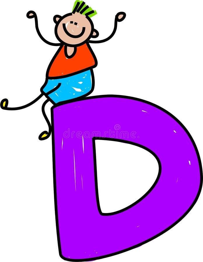 Muchacho de la letra D stock de ilustración
