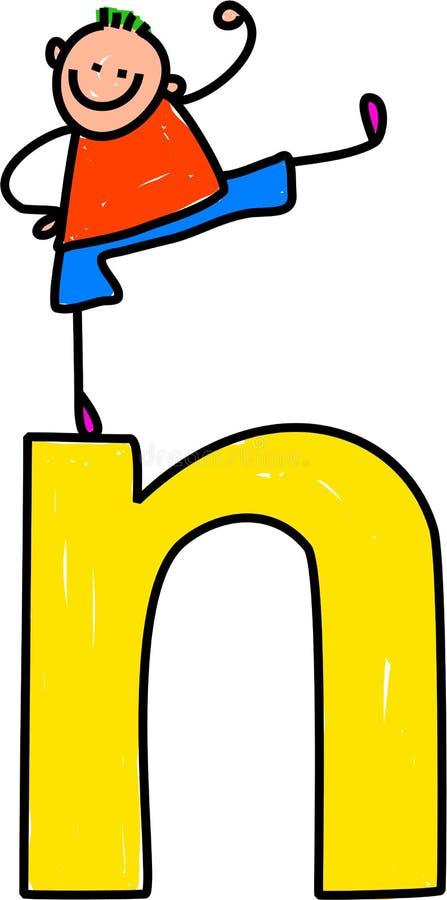 Muchacho de la letra N ilustración del vector