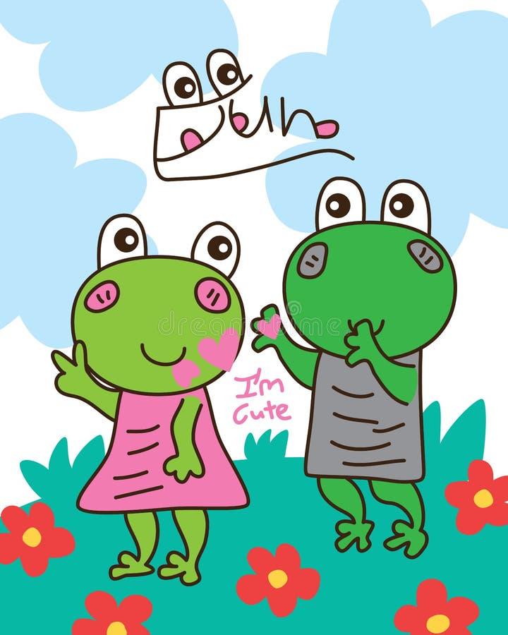 Muchacho de la rana del juego de la diversión de la muchacha de la rana stock de ilustración