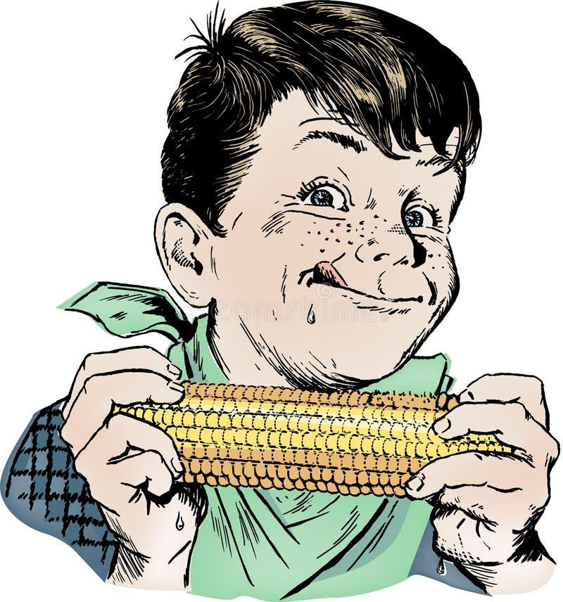 Muchacho de los años 50 de la vendimia que come maíz imagen de archivo libre de regalías