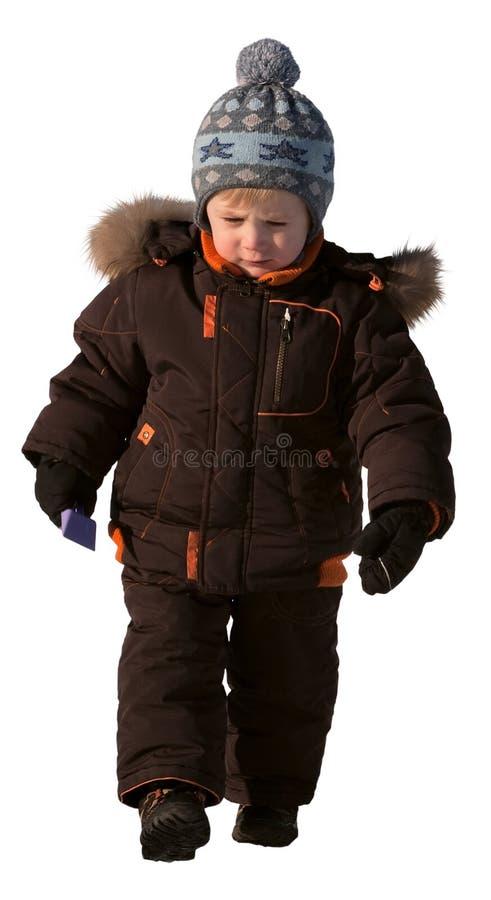 Muchacho de tres años en ropa del invierno fotos de archivo libres de regalías