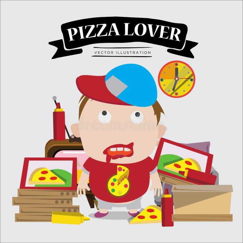 Muchacho del amante de la pizza carácter - libre illustration