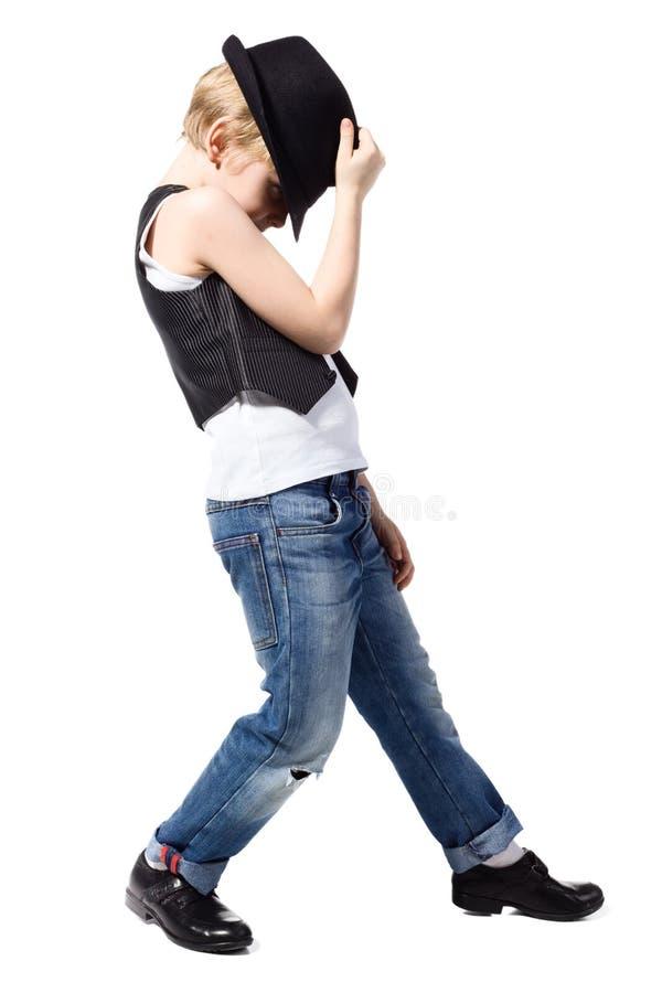 Muchacho del baile aislado en blanco imagen de archivo