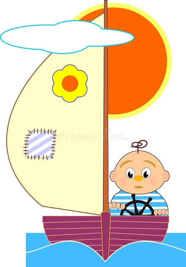Muchacho del barco de vela y de marinero - illustrat de la historieta ilustración del vector