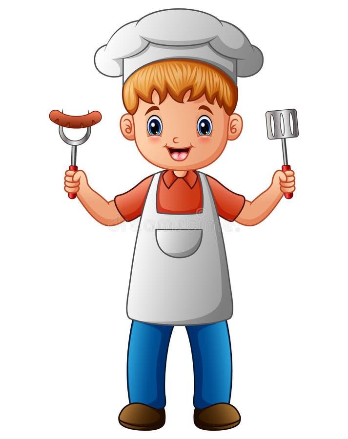 Muchacho del cocinero que sostiene una espátula y una salchicha en la bifurcación stock de ilustración