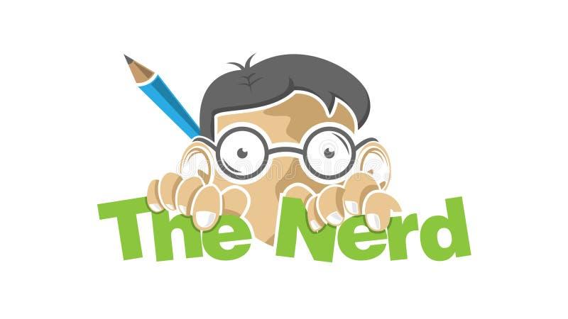 Muchacho del empollón con los vidrios y el lápiz del dibujo ilustración del vector