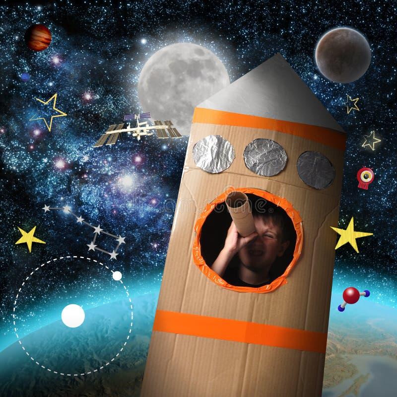 Muchacho del espacio que finge ser astronauta ilustración del vector