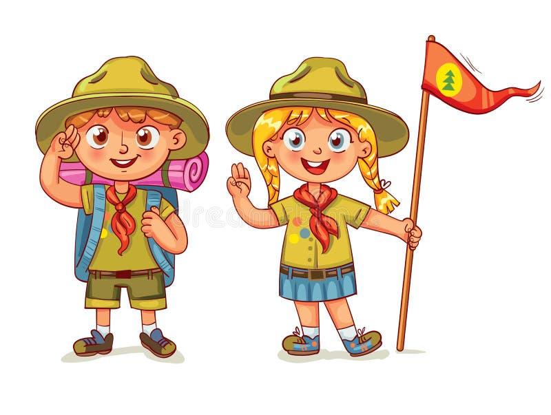Muchacho del explorador y muchacha del explorador stock de ilustración