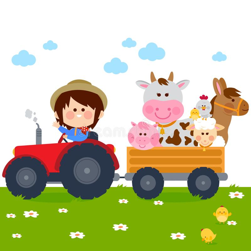 Muchacho del granjero que conduce un tractor y que lleva animales del campo libre illustration