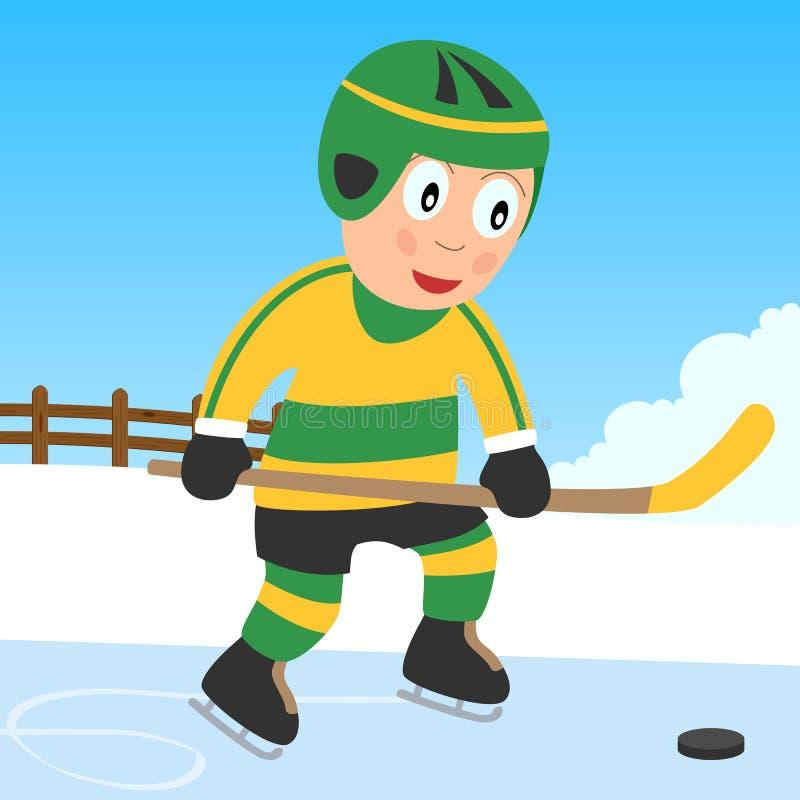 Muchacho del hockey sobre hielo en el parque ilustración del vector