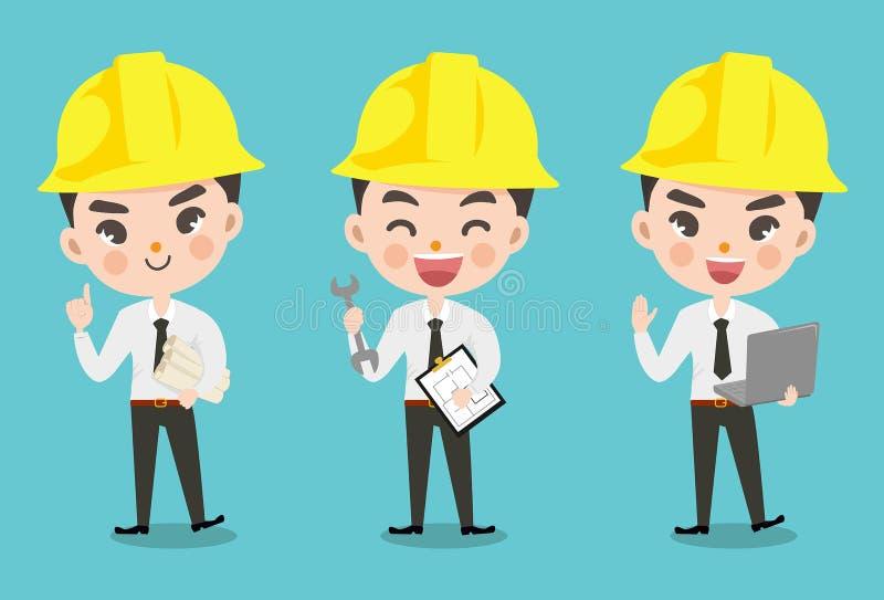 Muchacho del ingeniero en muchos acción libre illustration