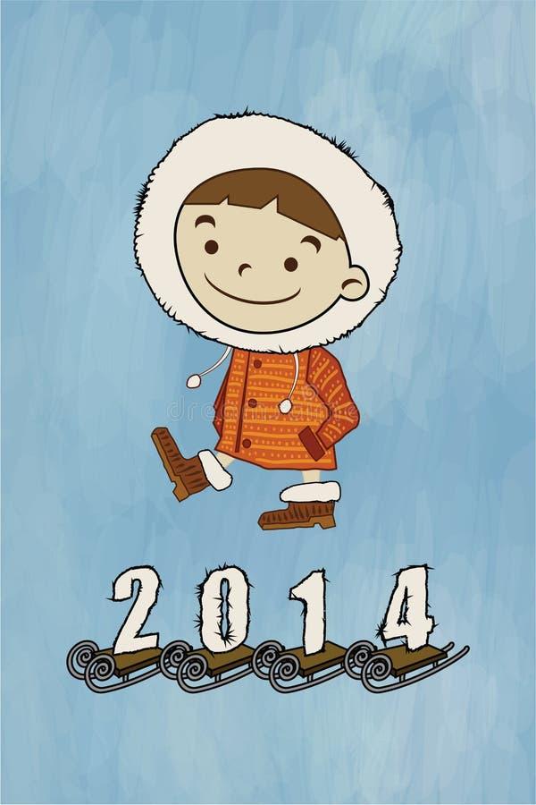 Muchacho del invierno, trineo libre illustration