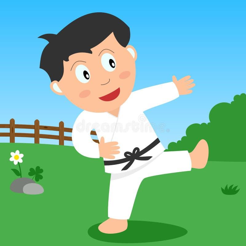 Muchacho del karate en el parque stock de ilustración