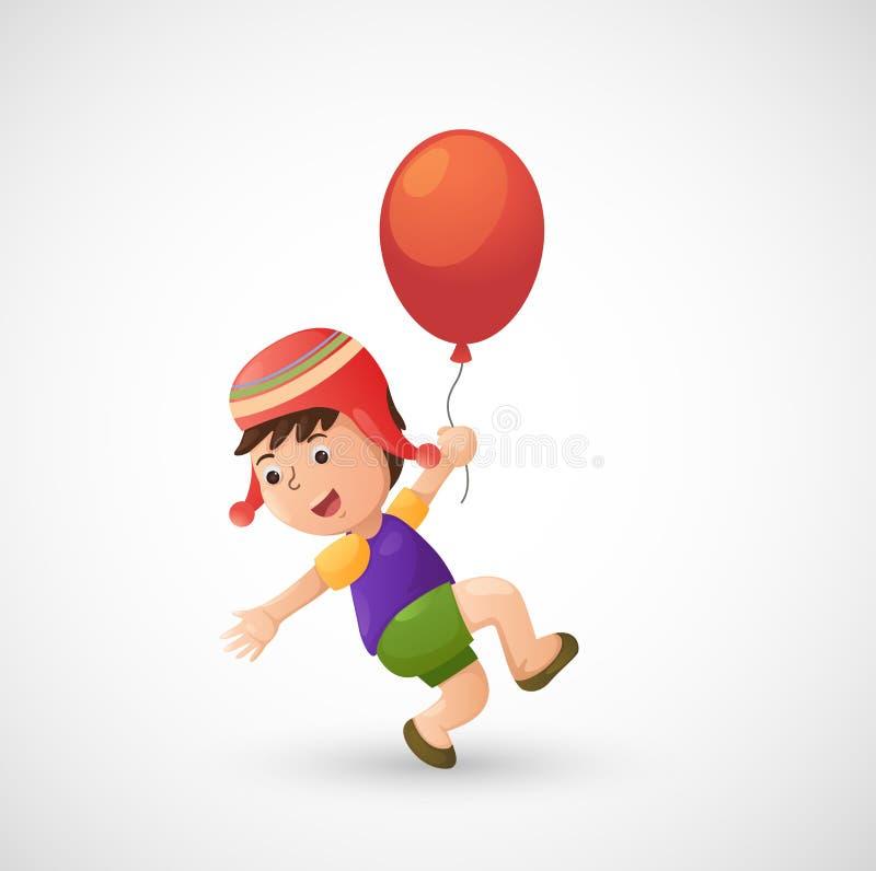 Muchacho del niño con el globo stock de ilustración