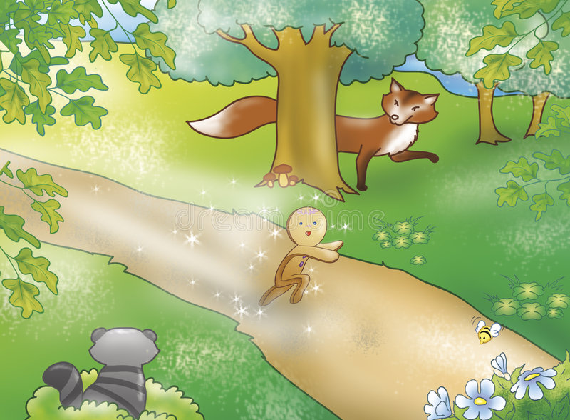Muchacho del pan de jengibre con los animales ilustración del vector