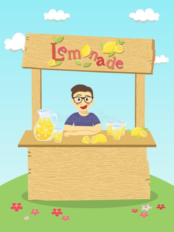Muchacho del puesto de limonadas stock de ilustración