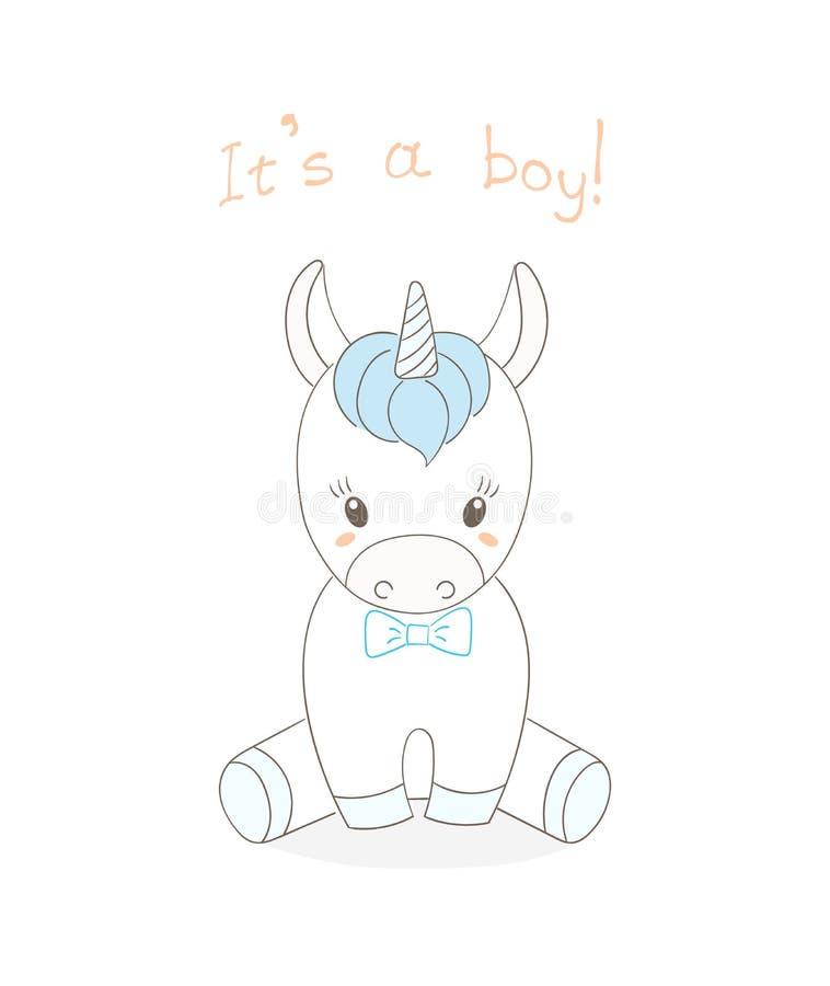 Muchacho del unicornio del bebé ilustración del vector