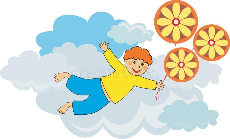 Muchacho del vuelo por los globos stock de ilustración
