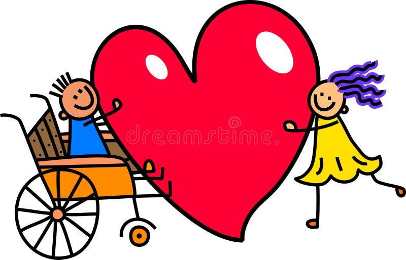 Muchacho discapacitado con amor grande del corazón stock de ilustración