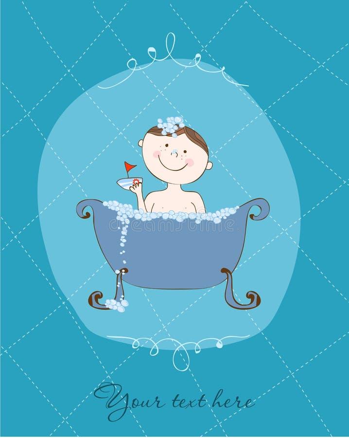 Muchacho divertido de la tarjeta en baño stock de ilustración