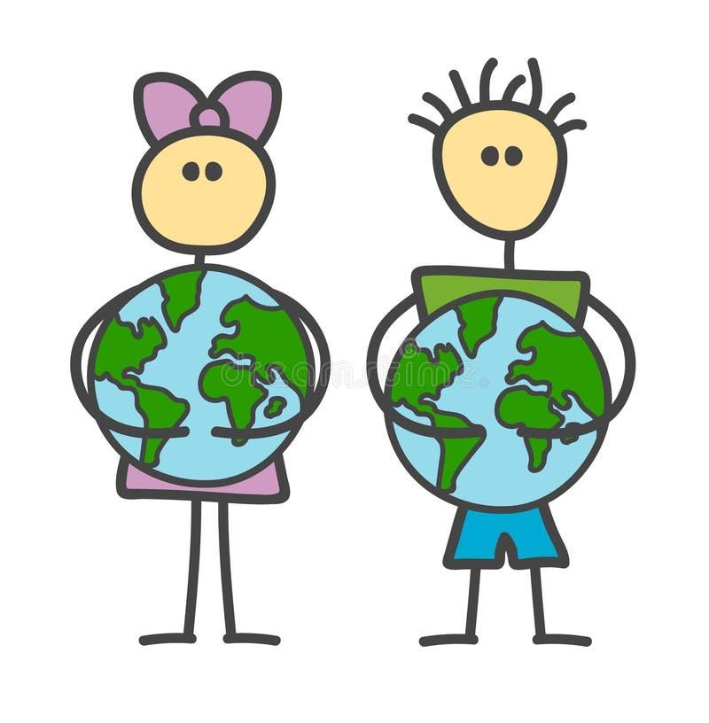 Muchacho divertido y muchacha del palillo del vector que abrazan la tierra en el estilo de los niños El Día de la Tierra feliz, d ilustración del vector