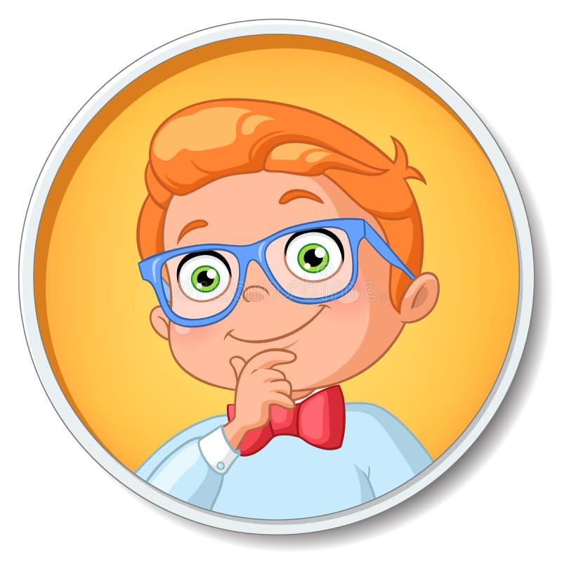 Muchacho elegante joven del estudiante en el pensamiento de los vidrios Ilustración del vector ilustración del vector