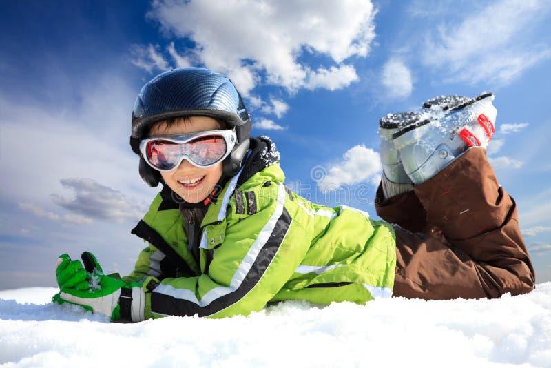 Muchacho En Desgaste Del Esquí Foto de archivo libre de regalías