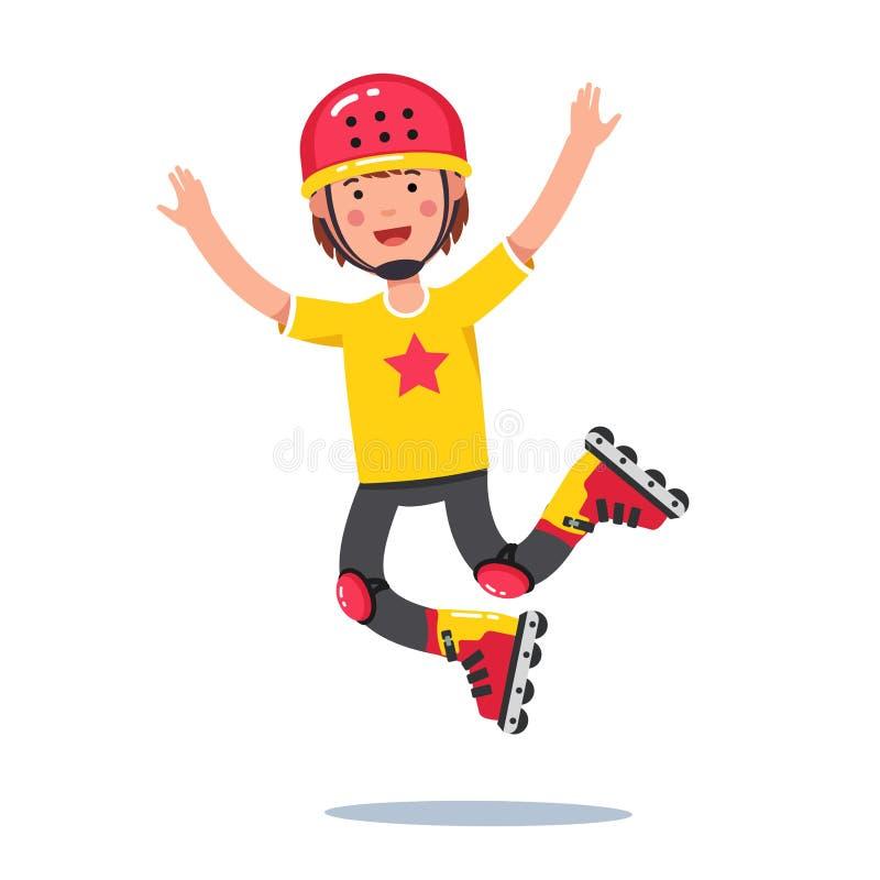 Muchacho en el casco que salta y que rueda en las cuchillas del rodillo ilustración del vector