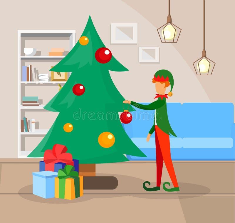 Muchacho en el traje del duende que adorna el árbol de navidad ilustración del vector
