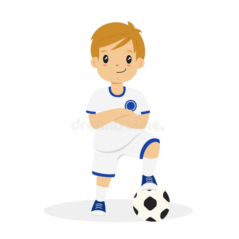 Muchacho en el vector blanco y azul de la historieta del jersey de fútbol stock de ilustración