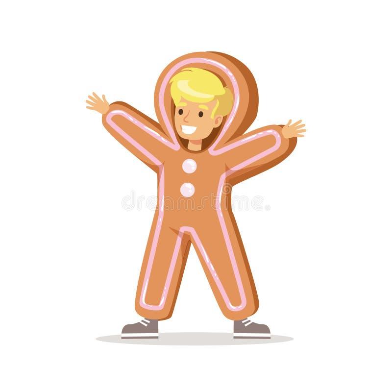 Muchacho en Ginger Bread Man Outfit Dressed como símbolo de las vacaciones de invierno para el partido del carnaval de la Navidad ilustración del vector