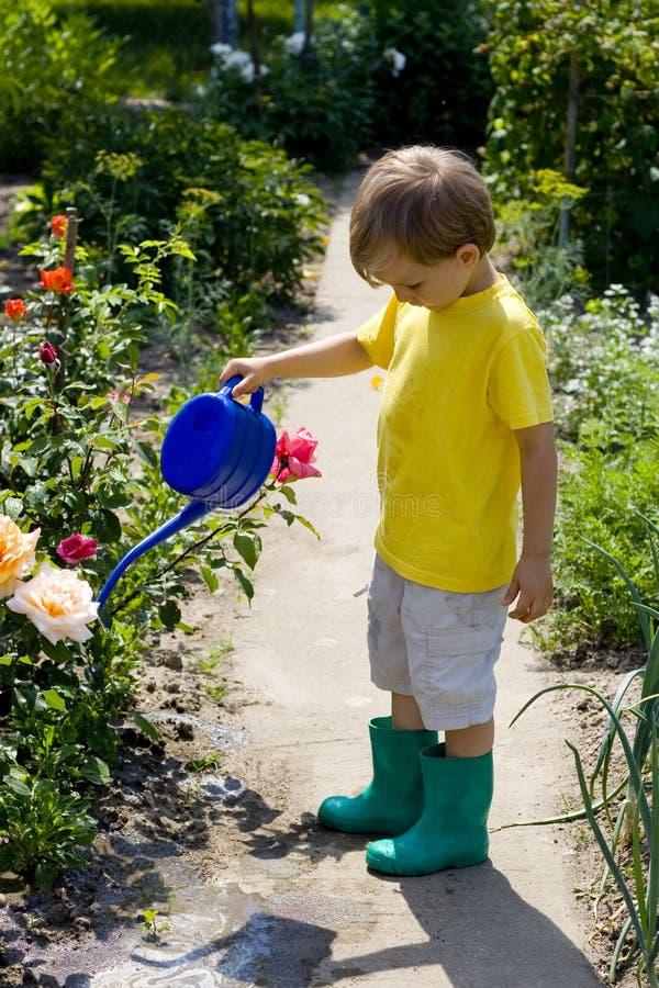 Muchacho en jardín foto de archivo libre de regalías