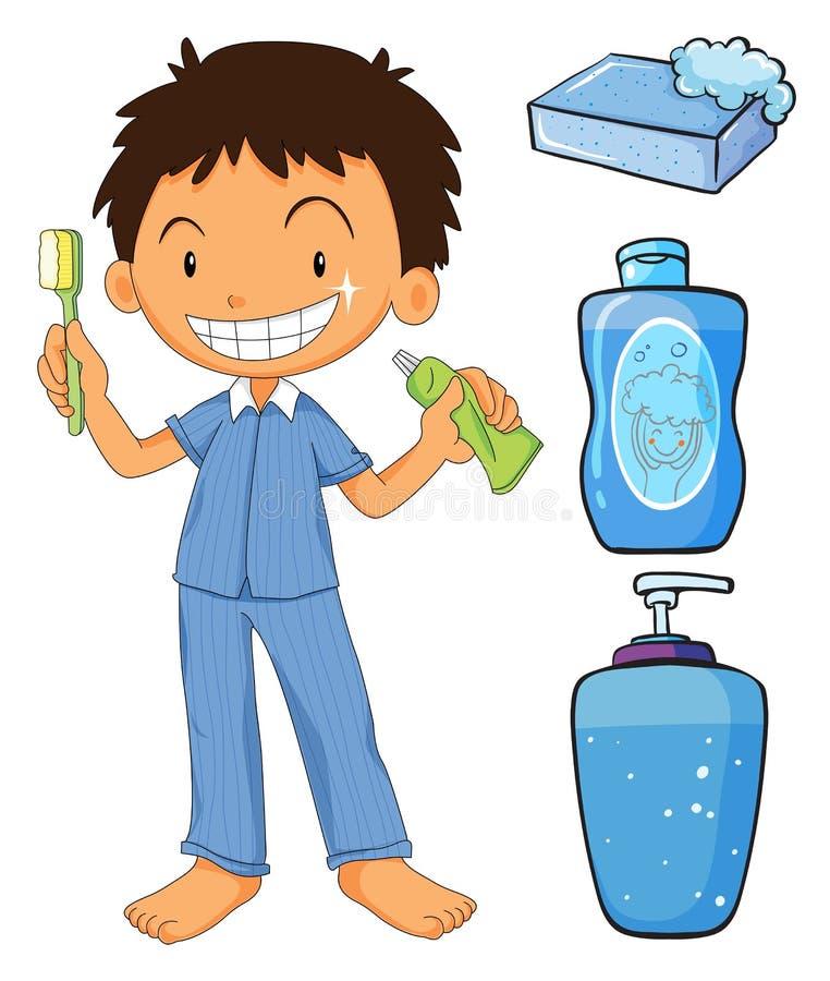 Muchacho en los pijamas que cepillan los dientes stock de ilustración