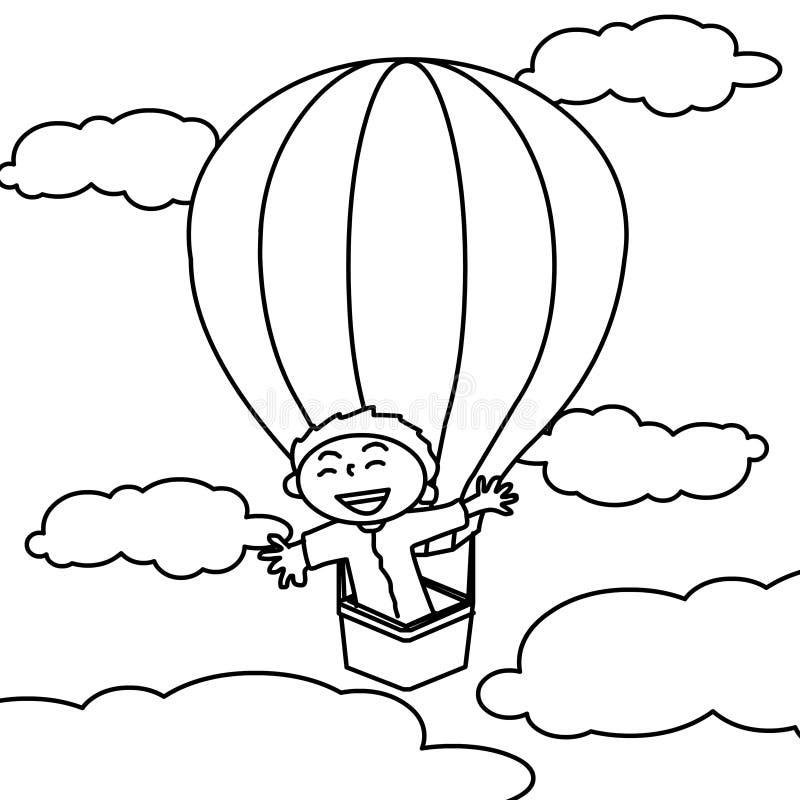 Muchacho en página caliente del colorante del airballoon ilustración del vector